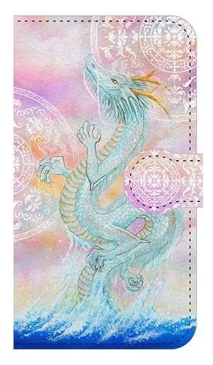 【鏡付き Sサイズ】 龍宮神 白曼荼羅つき RyuGuJin Divine Dragon-White Mandala 手帳型スマホケース