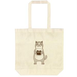 【エコトートバッグ】ネコおっさん ビール