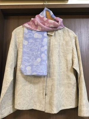 白雲友子&Shigeki Kobayashi 「芽吹きの水辺」風通織スカーフ(小).    cotton60%+silk40% Sprouting at the waterside scarf(S)