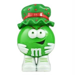 M&M's ミニディスペンサー フィギュア グリーン ホリデー・クリスマス ボンネット帽子