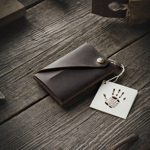 415 Minimalistic Leather wallet / card holder Wood Brown