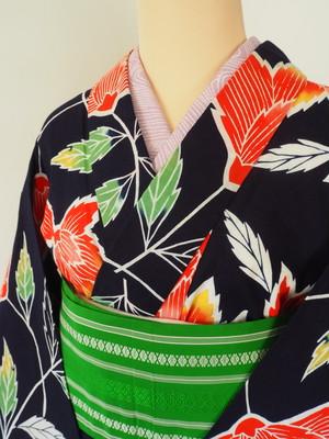 レトロモダン オレンジの抽象花 注染浴衣