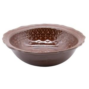 益子焼 わかさま陶芸 「フレンチレース」 ボウル 鉢 皿 L 約22cm ブラウン 255978