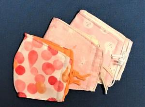 立体ガーゼマスク・Sサイズ3枚組(リバーシブルタイプ)水玉・小花うさぎ・うさぎピンク