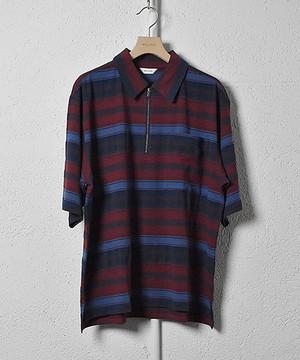 【WELLDER】 Zip Up Polo Shirt (Bordeaux)