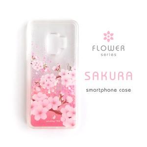 桜 グリッターケース[iPhone・Galaxy S9/10/10+]*木のぼり猫とメジロ*