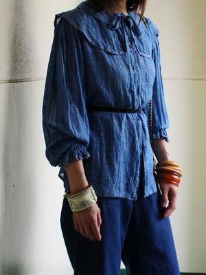 70s cotton lame blouse