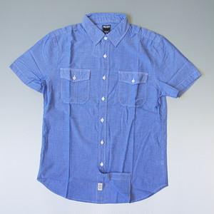 【夏物SALE】TODD SNYDER トッドスナイダー 無地ブロード半袖シャツ ブルー