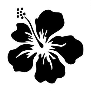 ハイビスカス・南国植物のカッティングステッカー・シール 光沢タイプ・耐水・屋外耐候3~4年【クリックポストにて発送】