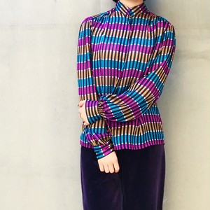 70's multicolor silk blouse