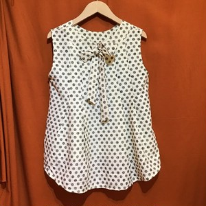 Back Ribbon Sleeveless Tops  Color : Dot/Ivory