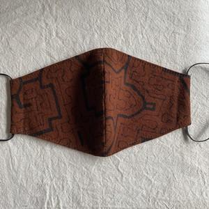泥染めマスク47 茶模様S 11cm シピボ族の工芸布 アマゾンの草木染め