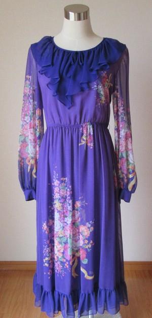 昭和レトロファッション ドレス ディテールフリル 中古品 ジョーゼット パープル