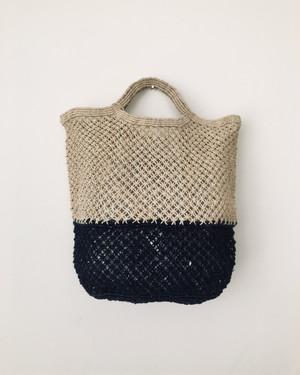 Jute macrame shopping bag Nat/Indigo|ショッピングバッグ