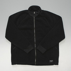 Abercrombie&Fitch アバクロンビー&フィッチ フルジップ フリースジャケット 裾クラシックロゴ ブラック