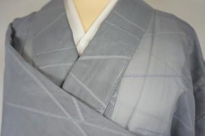 未使用【夏】紗 小紋  芝草文 正絹 グレー 灰青色  256