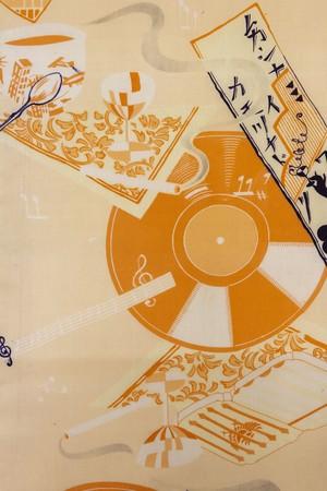 レコード・カフェ柄 仕立て上り名古屋帯