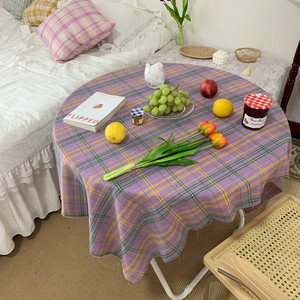 purple check tablecloth 2size / 韓国 チェック テーブルクロス