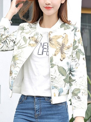 【outer】Fashion flower pattern stand neck long sleeves jacket