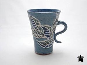『マグカップ』(クロトン・青、茶)(月桃・黄緑) ~ 榕原陶房(がじゅばるとうぼう)~ 仲村実 作