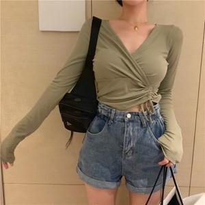 【トップス】初秋新作韓国版セクシーVネック着やせ見えボウタイTシャツ