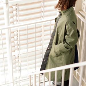 ミリタリーコート(カーキ) コットン・ナイロン 秋冬 コート 防寒 ビッグポケット カジュアル リラックス 切り返し バイカラー
