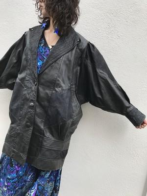 80s dolman sleeve × black leater coat ( ヴィンテージ ドルマンスリーブ ブラック レザー コート )