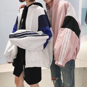 【アウター】合わせやすい長袖配色カジュアルジッパージャケット