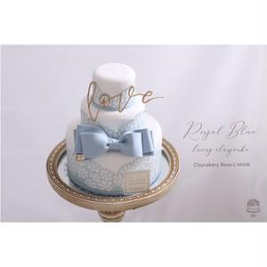 Royal Blue Ribbon Lacey Claycake