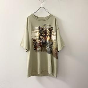 アニマルプリントTシャツ ベージュ size XL USA製 メンズ 古着