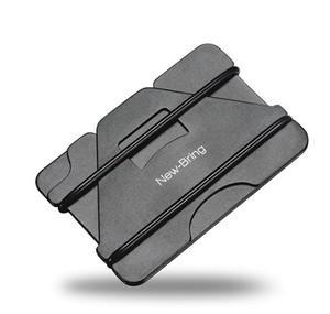 ミニ財布 クレジットカードホルダー ブラック/グレー ミニマリスト メタルウォレット スキミング防止