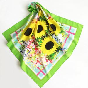 ミニスカーフ「 Sunflower Bouquet 向日葵のブーケ(グリーン)」 ( コットン )