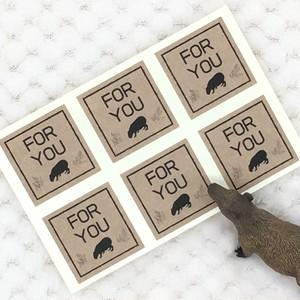 カピバラのギフトシール 茶色 「FOR YOU」6枚