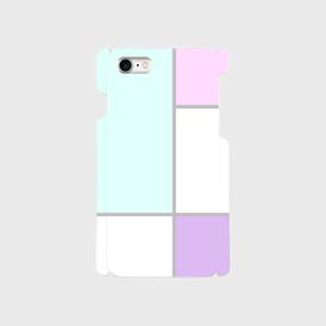 ブロッキング柄(水色)♡iPhoneケース