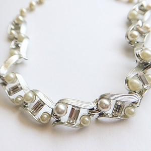 """Lisner"" pearl & rhinestone necklace[n-189]"