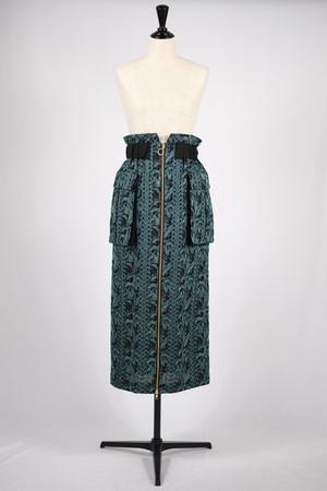【EBONY】flower embroidery work skirt - black flower