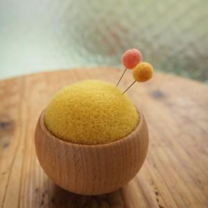 こんもり針山 羊毛ピンクッション(レモン)
