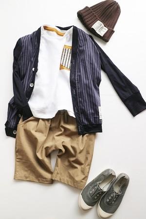 【100】【140】BOYSカーディガン・紺×ストライプ