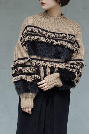 【 EBONY】fringe hand knit-beige×black