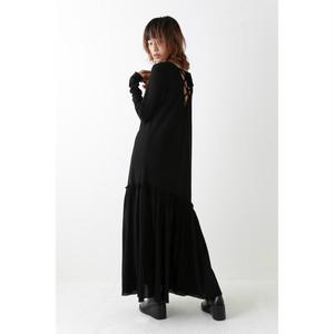 Back lace-up dress - Black