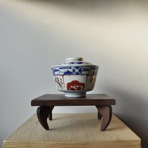 【蓋つき飯茶碗】梅模様 伊万里焼 月弓銘 明治期 アンティーク