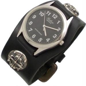 レザーバンドクロスコンチョウォッチシルバーブレスレット(時計付) *EK-08T