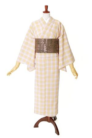 綿麻 片貝木綿 単衣きもの 仕立て上がり 格子№202 クリーム系 着用時期5月~10月