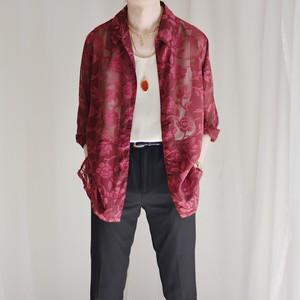 see-through shirt / wine red rose pattern