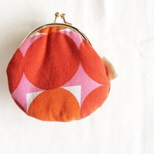 ヨーロッパビンテージ布の がま口 ピンクレッド