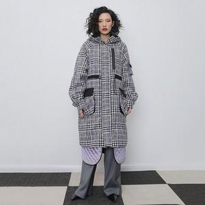 ★UNISEX   ルーズフィットパープルチェックウールコート 2020AW 韓国ファッション