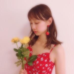 【即納】真っ赤な花柄キャミワンピース