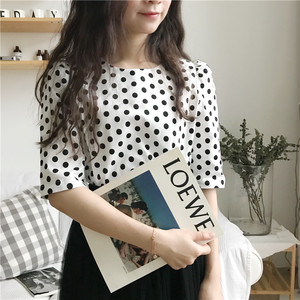 ♡round neck dot tops 6487