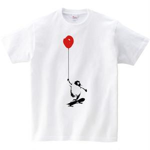 [キッズTシャツ] ペンギンと風船とスケートボード