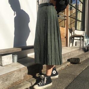 "USED "" Mixed green tweed kilt skirt """